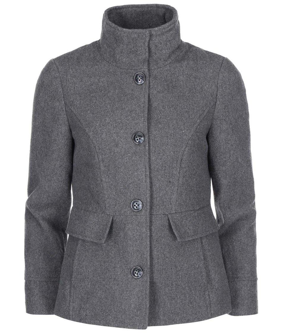 Šedý kabát s vysokým límcem Vero Moda Molly