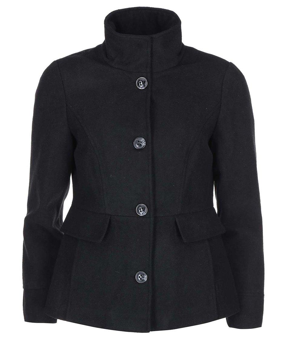 Černý kabát s vysokým límcem Vero Moda Molly