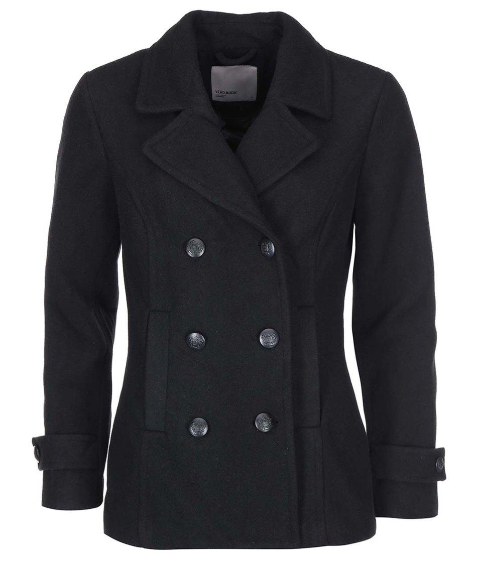 Černý kratší kabát Vero Moda Jane Daisy