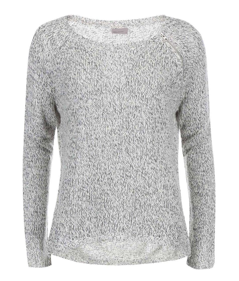 Světle šedý žíhaný svetr s kulatým výstřihem Vero Moda Tango