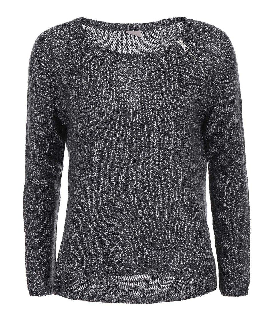 Černý žíhaný svetr s kulatým výstřihem Vero Moda Tango
