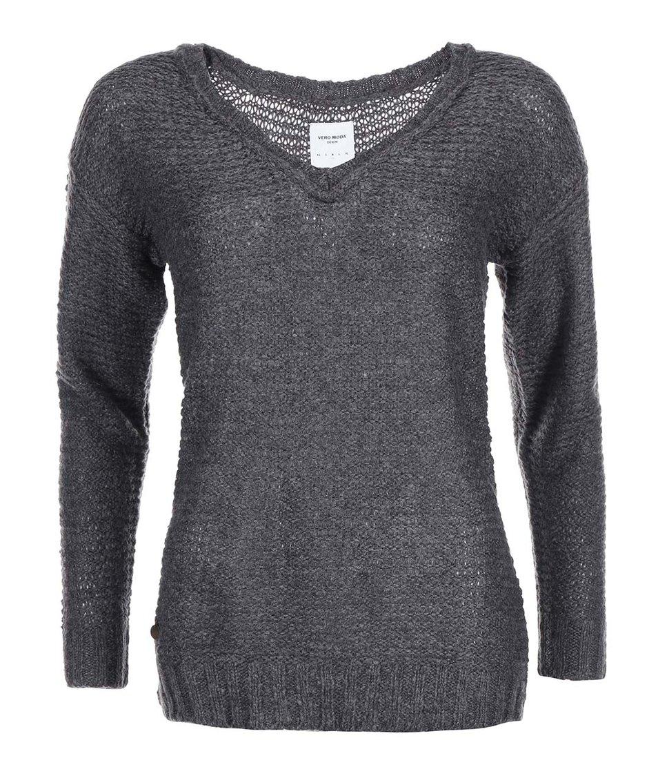 Tmavě šedý svetr s véčkovým výstřihem Vero Moda Celeste