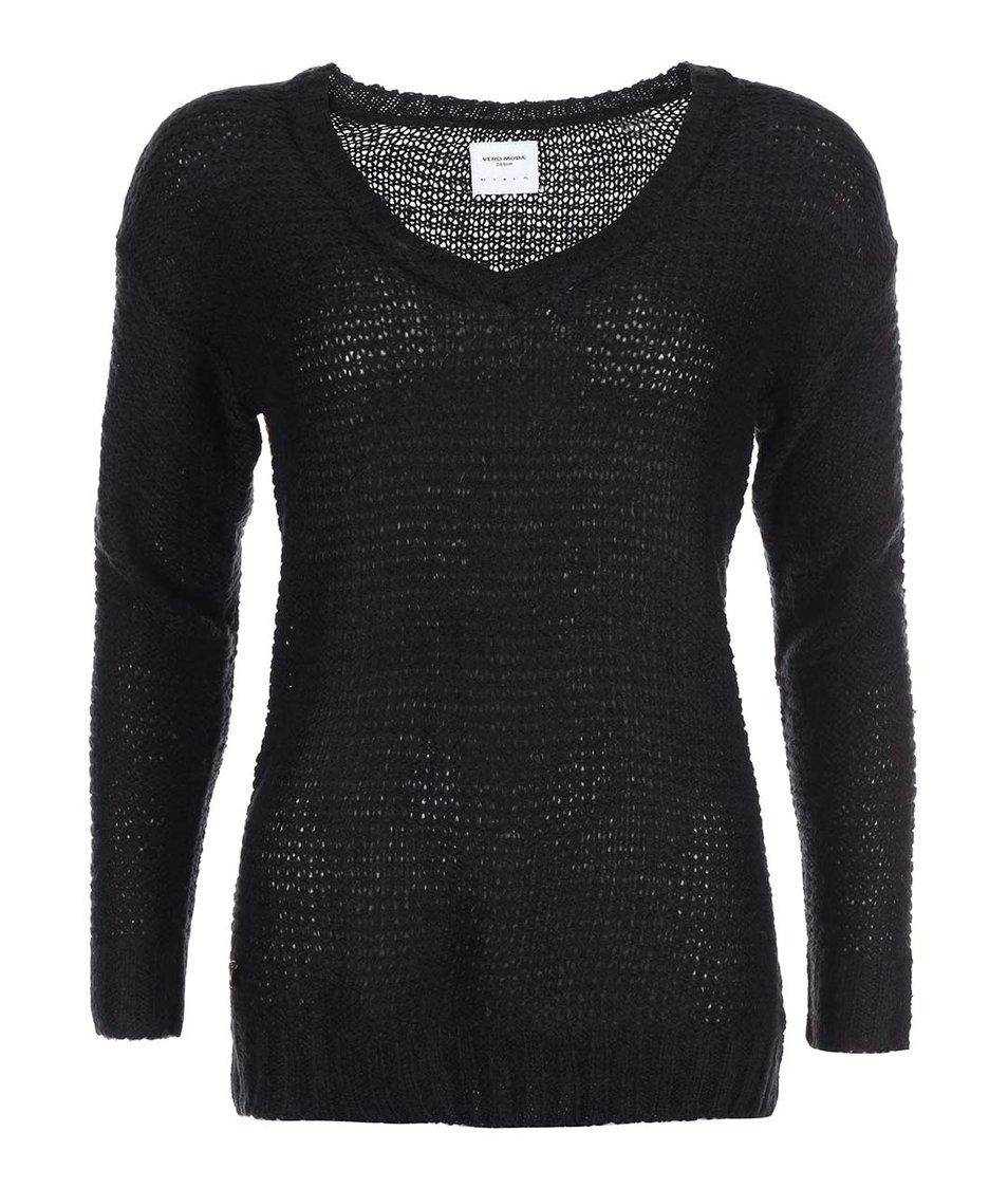 Černý svetr s véčkovým výstřihem Vero Moda Celeste