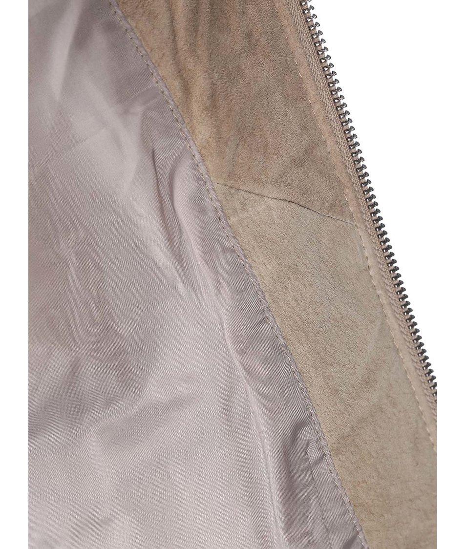 Světle hnědá kožená bunda Vero Moda Nilas
