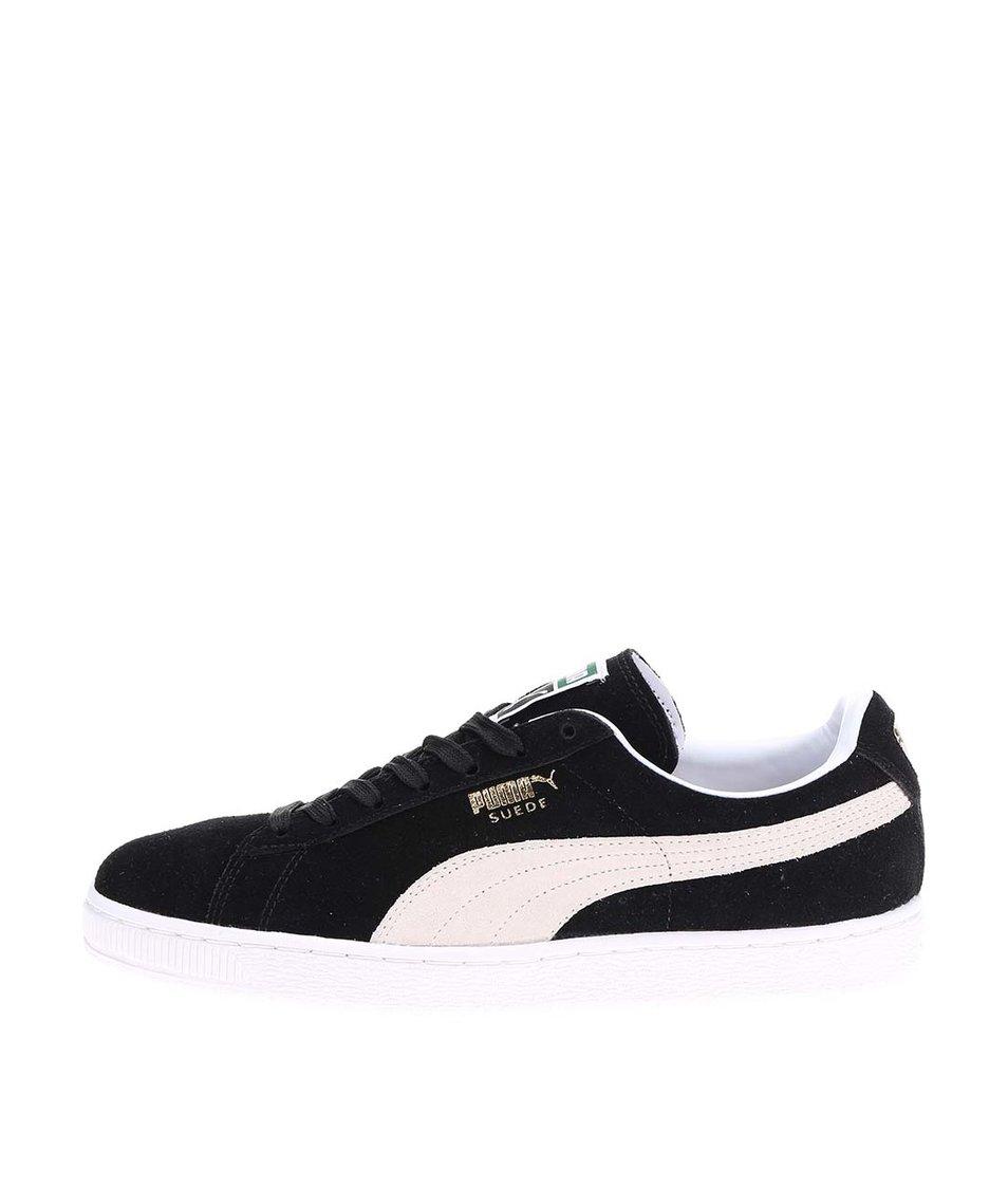 Krémovo-černé pánské kožené tenisky Puma Suede Classic+