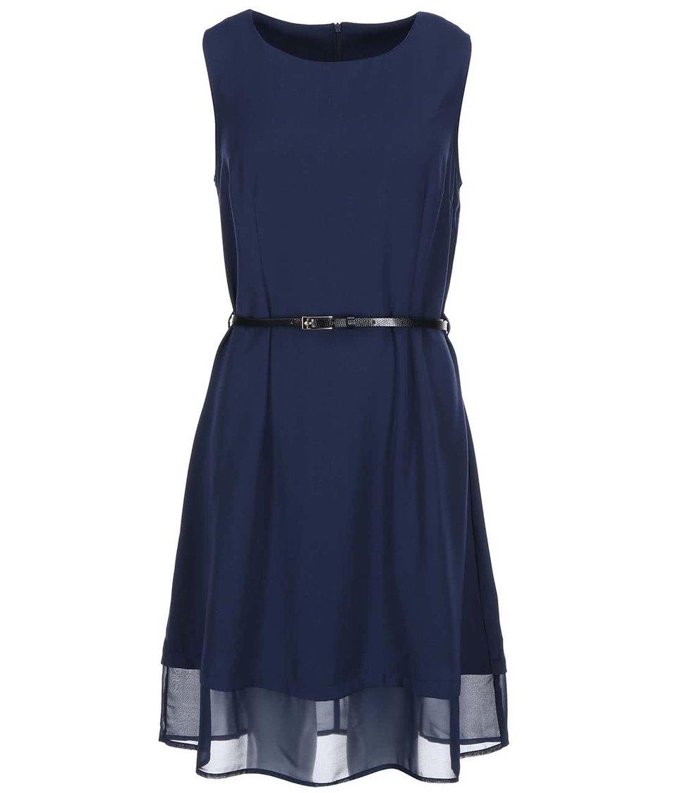 Tmavě modré šaty s páskem Vero Moda Ida