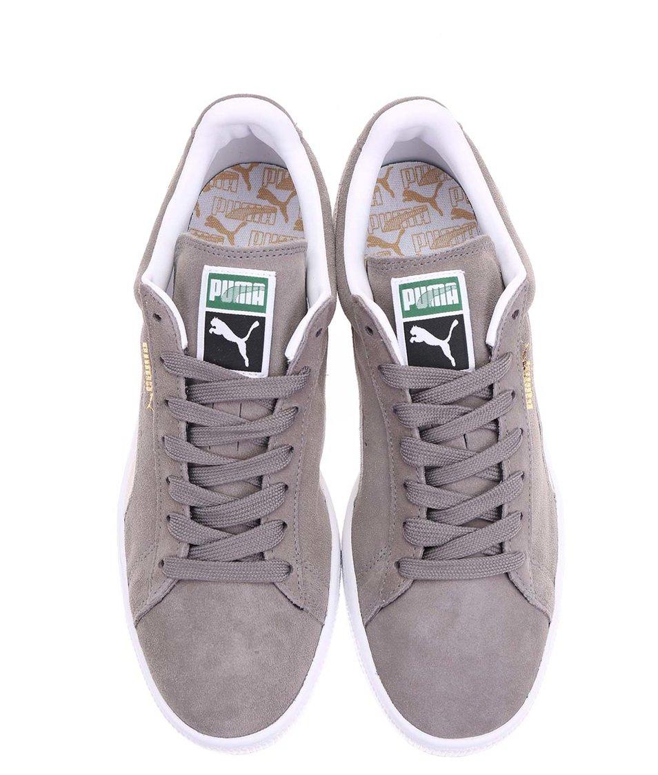 Krémovo-šedé pánské kožené tenisky Puma Suede Classic+