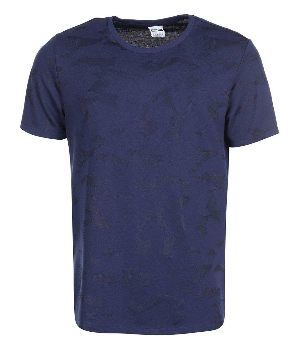 Tmavě modré pánské vzorované triko Puma Aop Tee