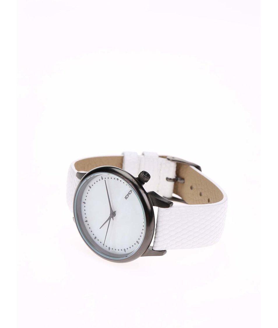 Bílé dámské kožené hodinky Komono Estelle White Lizard