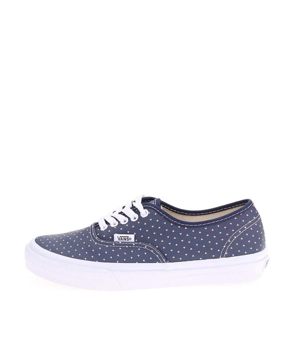 Modré dámské tenisky se srdíčky Vans Authentic - SLEVA!  fa3c6106a5