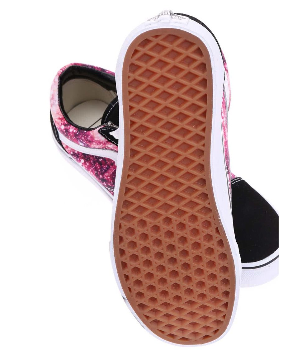 Černo-růžové dámské tenisky s koženými detaily Vans Old Skool