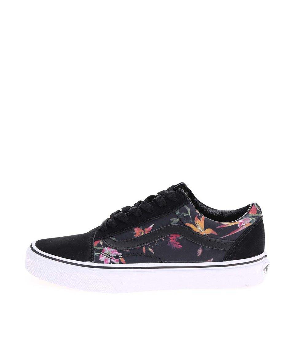 Černé dámské tenisky s květinami a koženými detaily Vans Old Skool