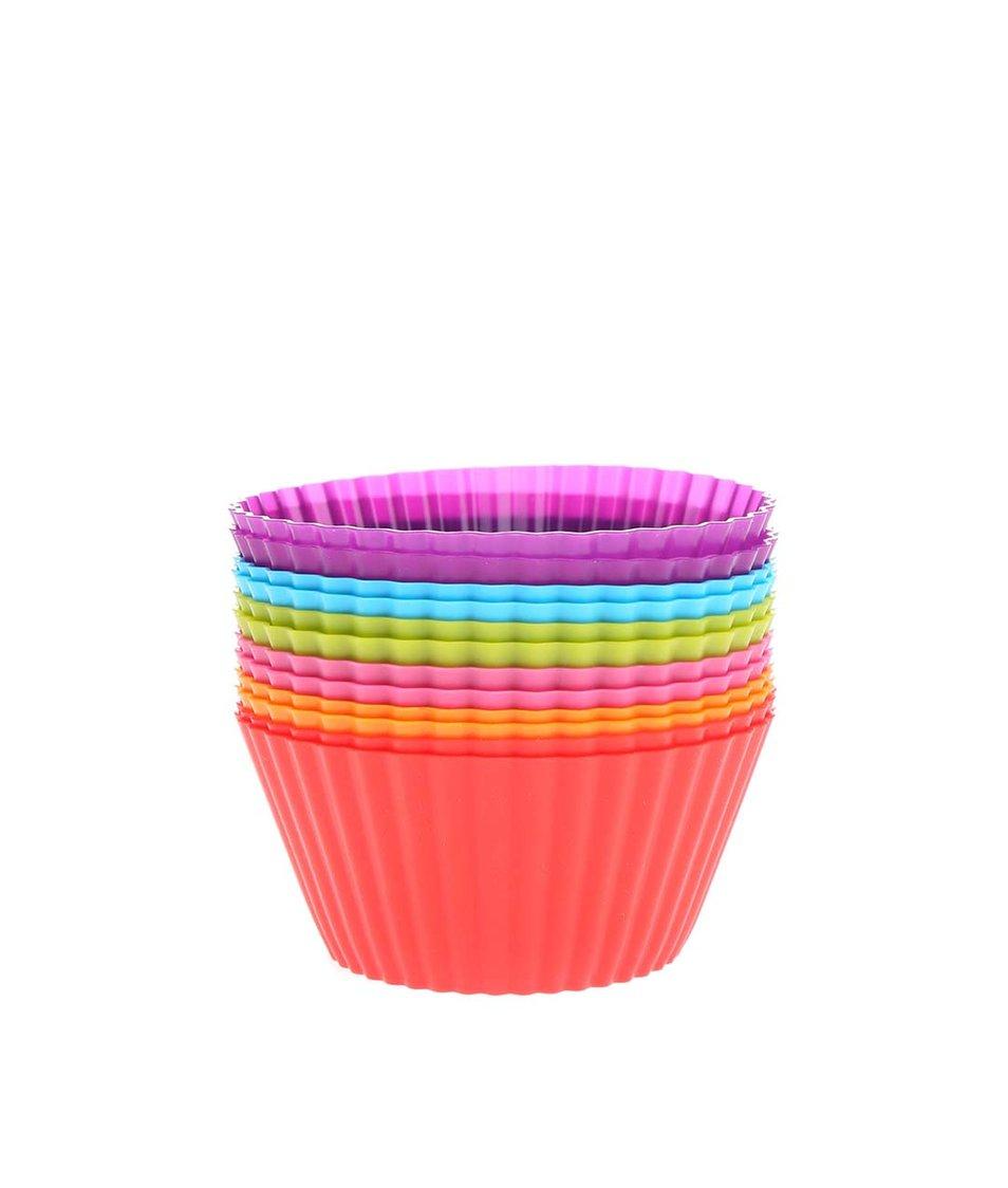 Sada dvanácti barevných silikonových košíčků na cupcakes Kitchen Craft