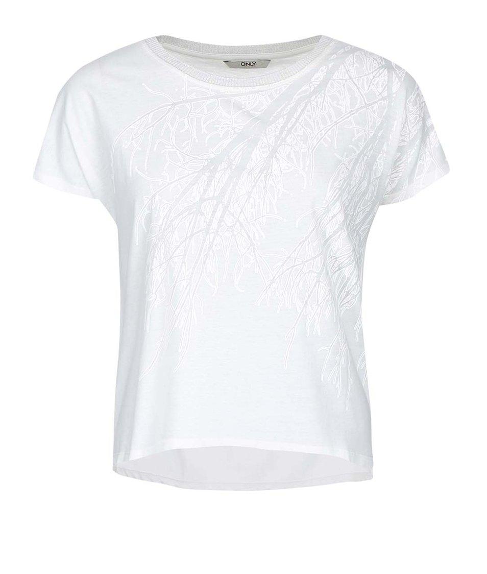 Bílé tričko s potiskem ONLY Mickeela