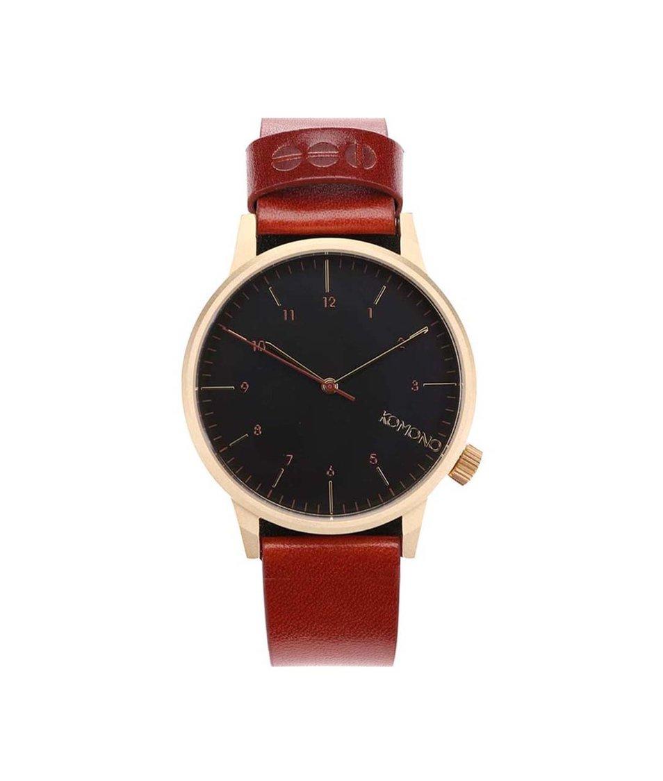 Vínovohnědé unisex kožené hodinky Komono Winston Regal