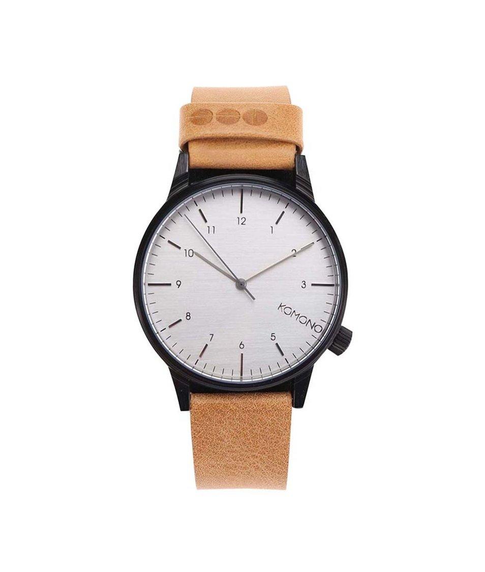 Světle hnědé unisex kožené hodinky Komono Winston Regal