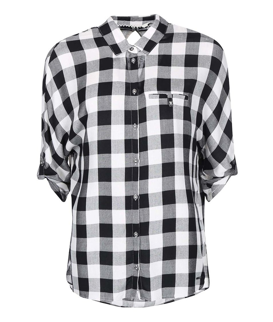Černo-bílá kostkovaná košile s 3/4 rukávem ONLY Castagna