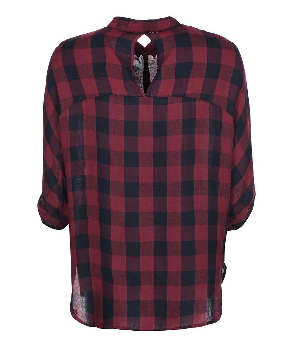 Vínová kostkovaná košile s 3/4 rukávem ONLY Castagna