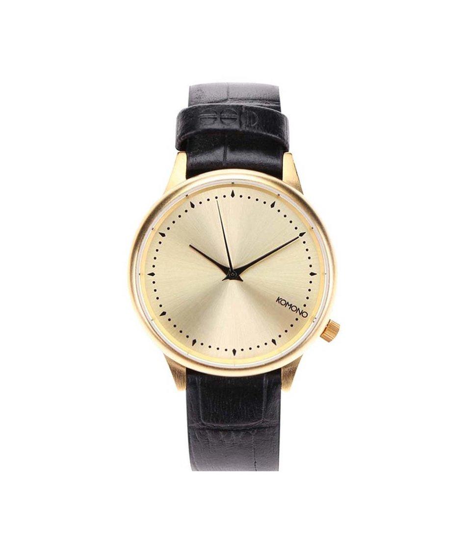Černé dámské kožené hodinky Komono Estelle Croc