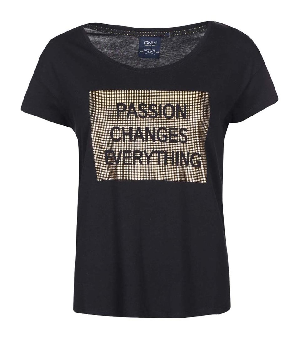 Černé tričko s potiskem ve zlaté barvě ONLY Holly