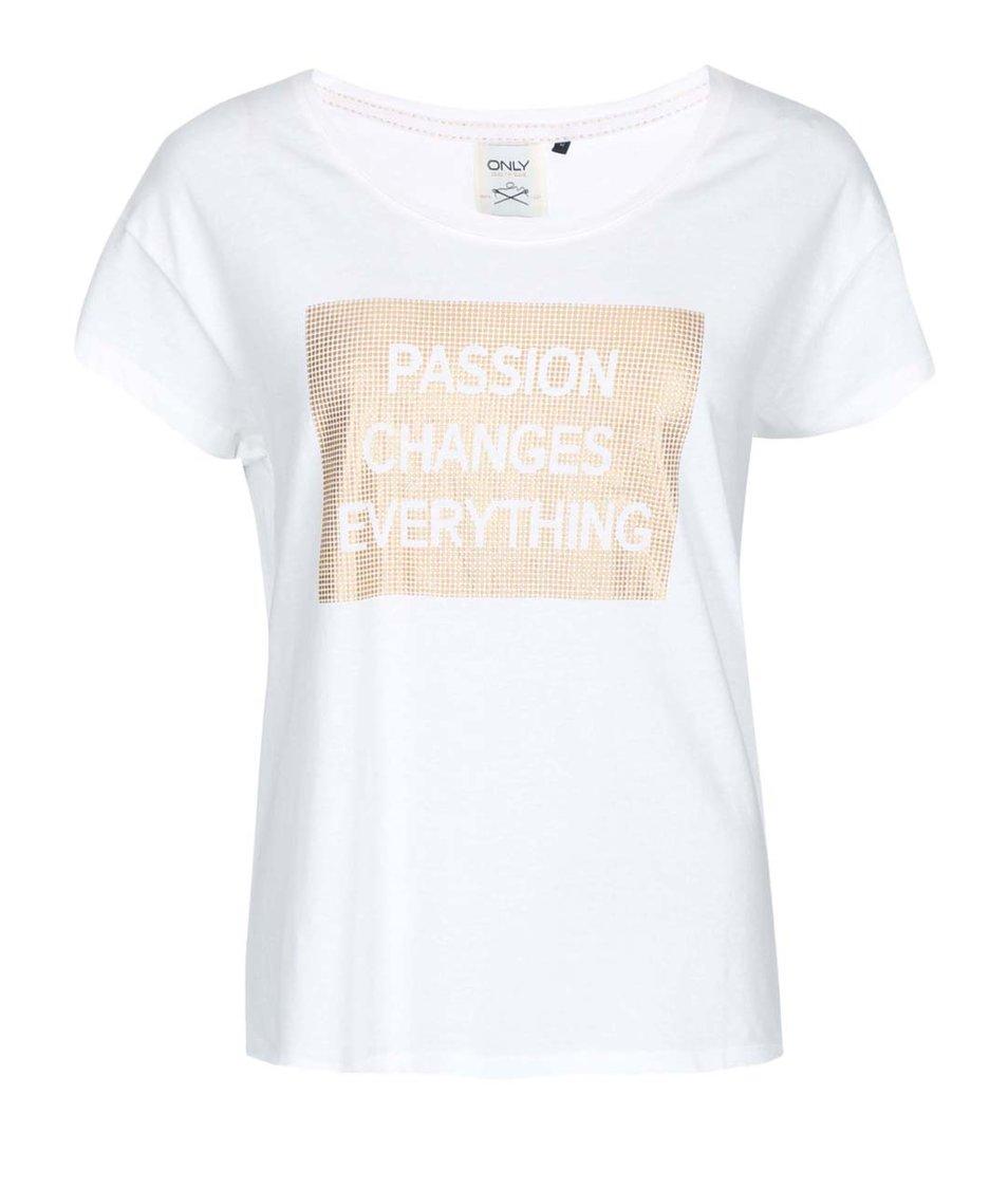 Krémové tričko s potiskem ve zlaté barvě ONLY Holly