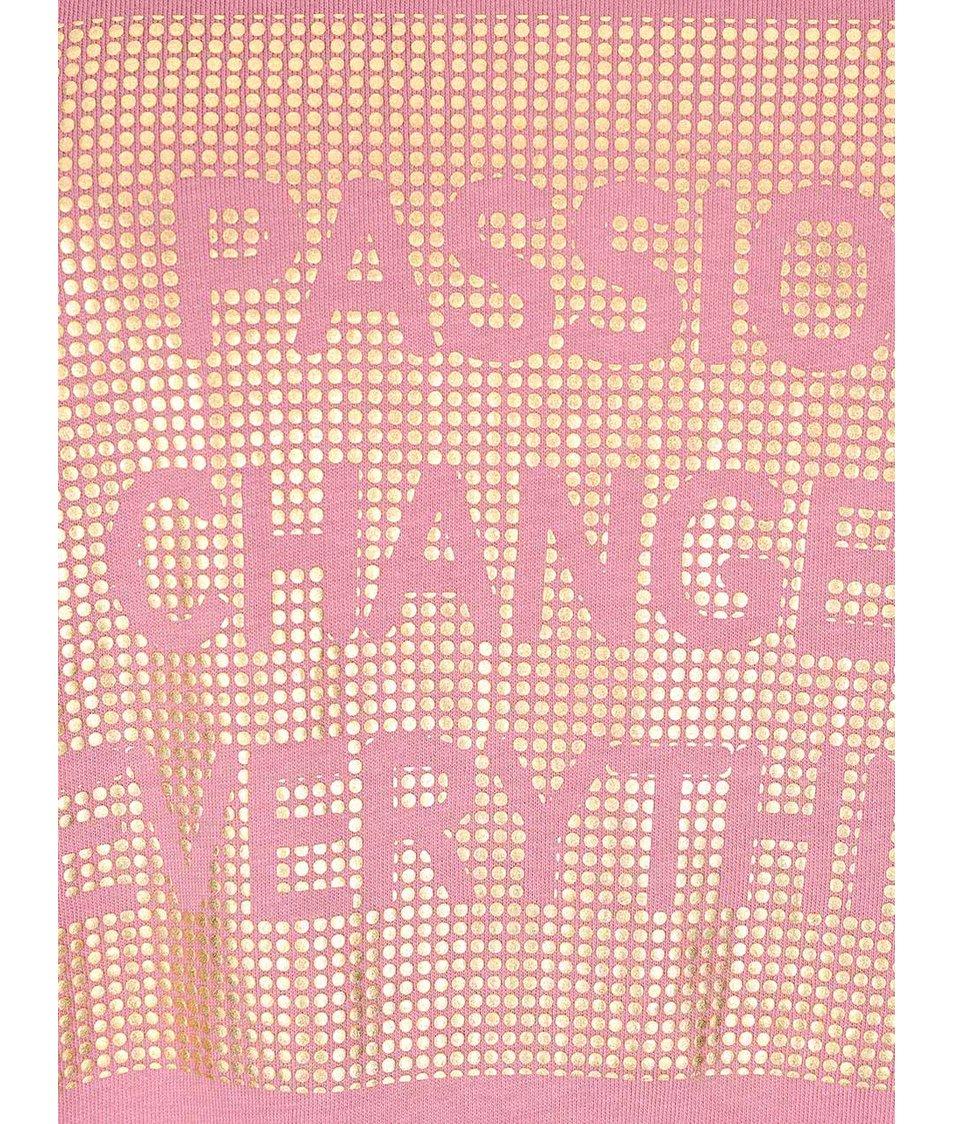 Růžové tričko s potiskem ve zlaté barvě ONLY Holly
