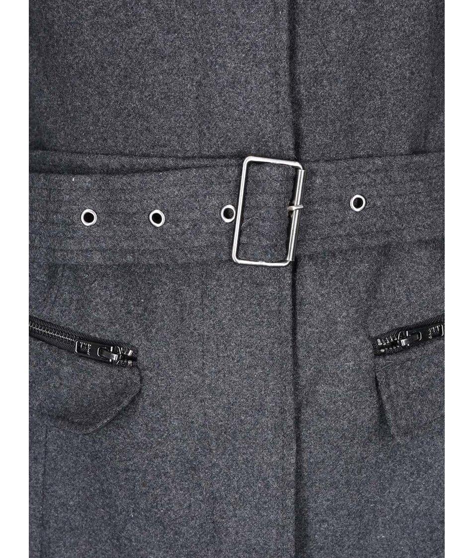 Tmavě šedý kabát s páskem ONLY Alanis
