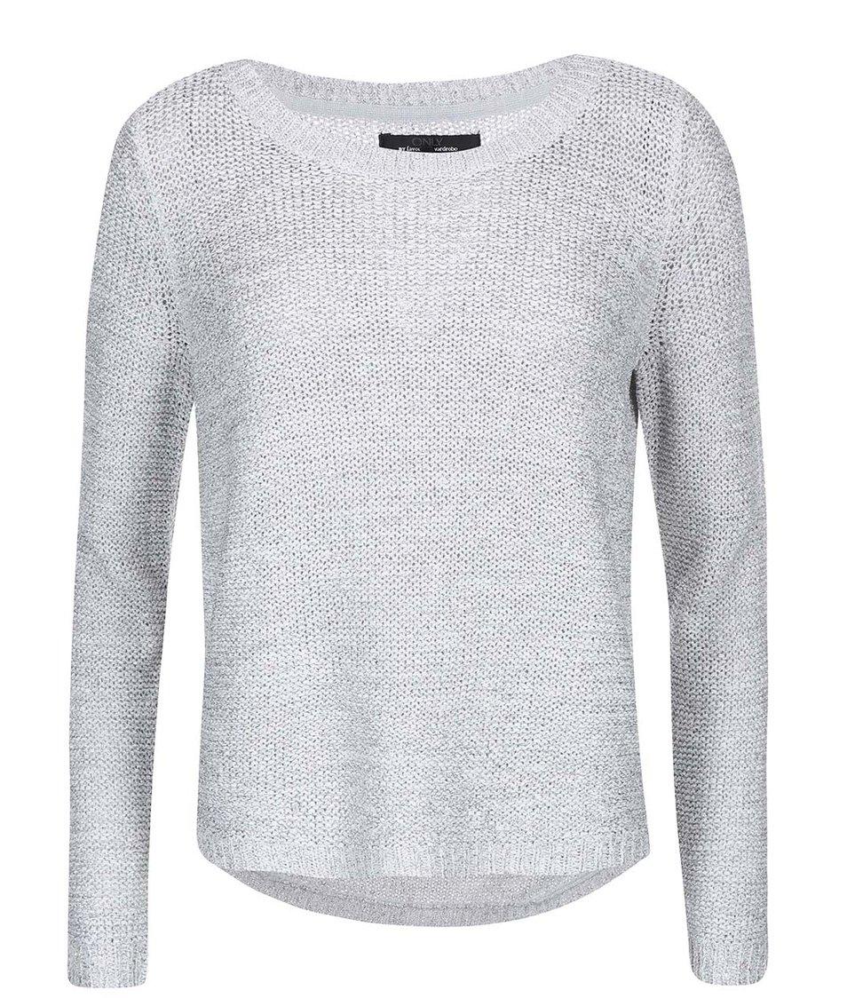 Světle šedý svetr se stříbrným prošíváním ONLY Geeny