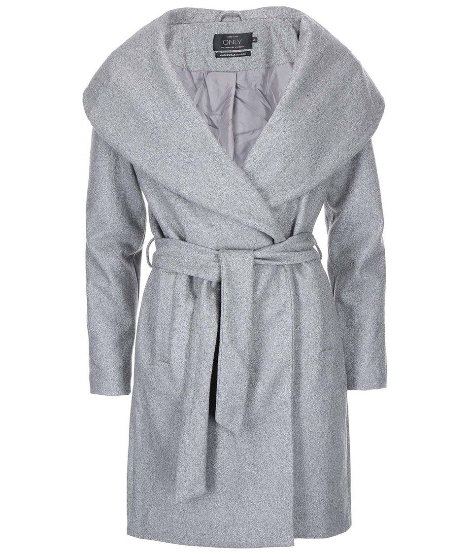 Světle šedý kabát ONLY Drapy