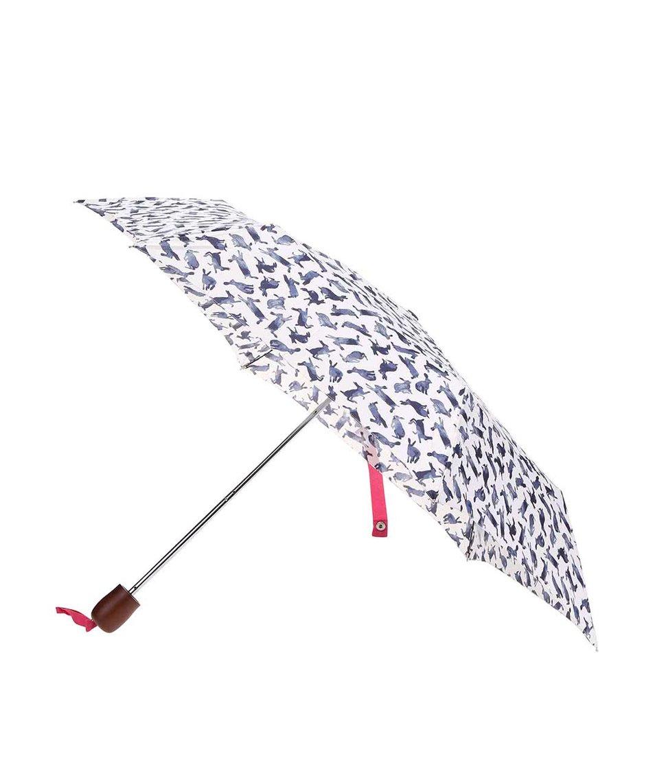 Bílý deštník s modrými zajíčky Tom Joule Brolly