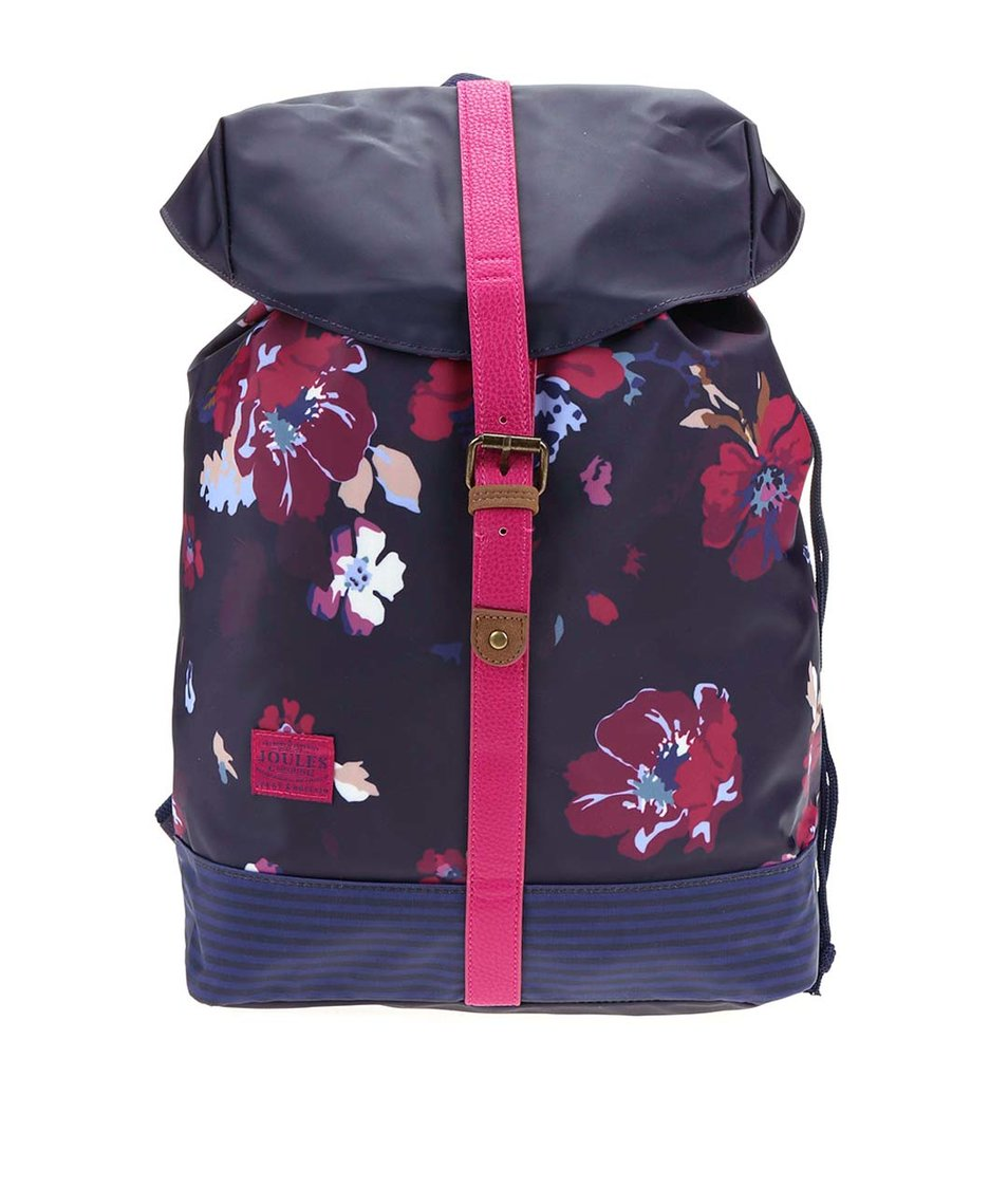Tmavě fialový batoh s barevnými květy Tom Joule Baliol