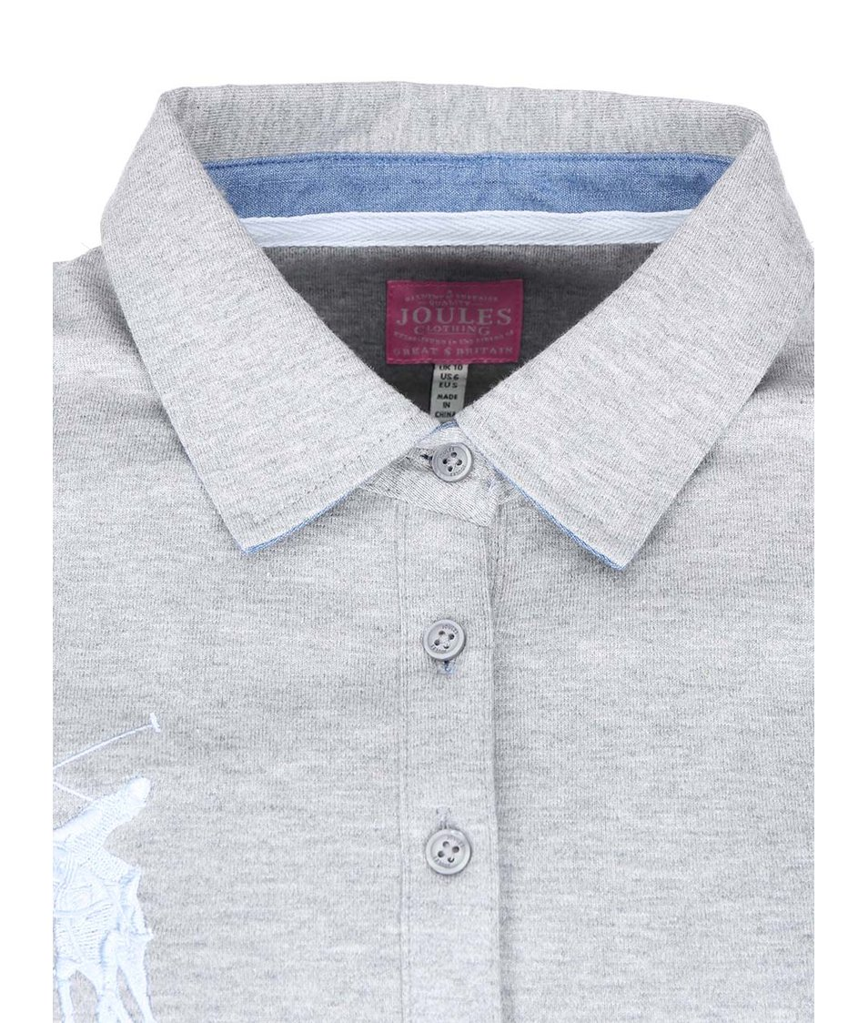 Šedé dámské pruhované polo tričko s dlouhými rukávy Tom Joule Belvoir