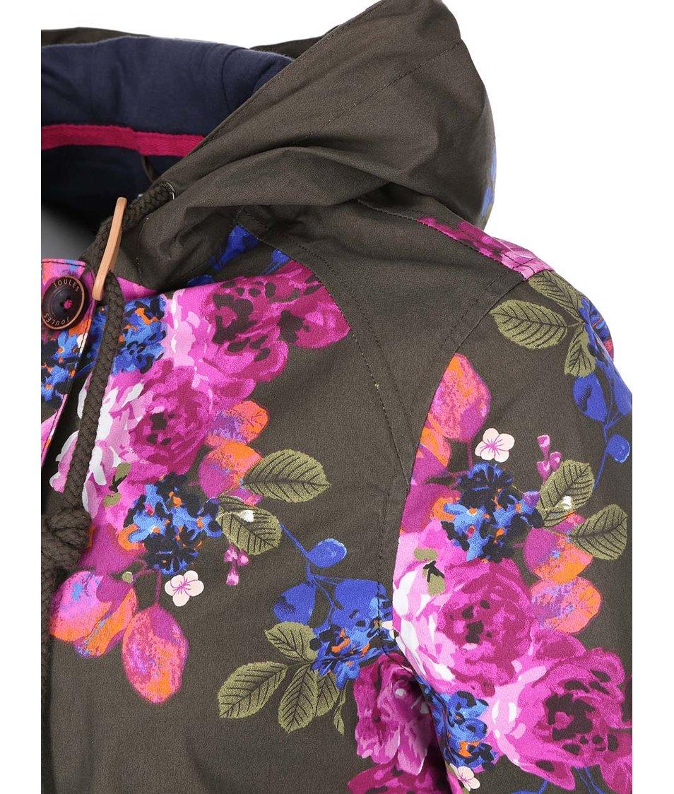 Hnědá dámská nepromokavá bunda s květy Tom Joule Coastprint