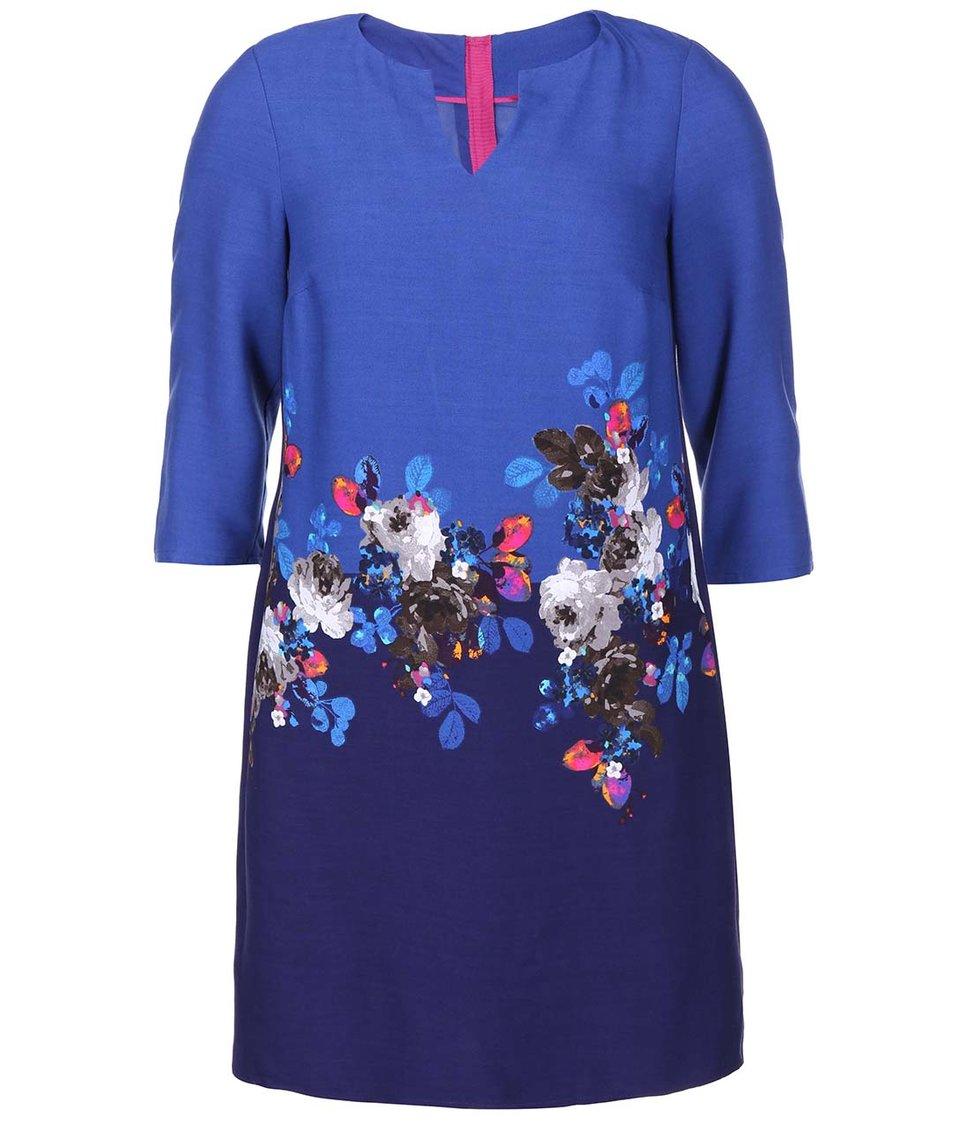 Modré květované šaty s 3/4 rukávy Tom Joule Eva