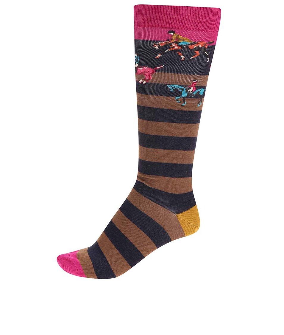 Hnědo-černé pruhované dámské bambusové ponožky s motivem koní Tom Joule Felicity