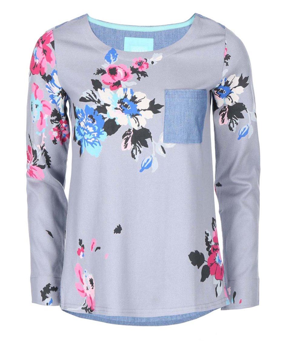 Šedý dámský top s růžovými květy Tom Joule Pia