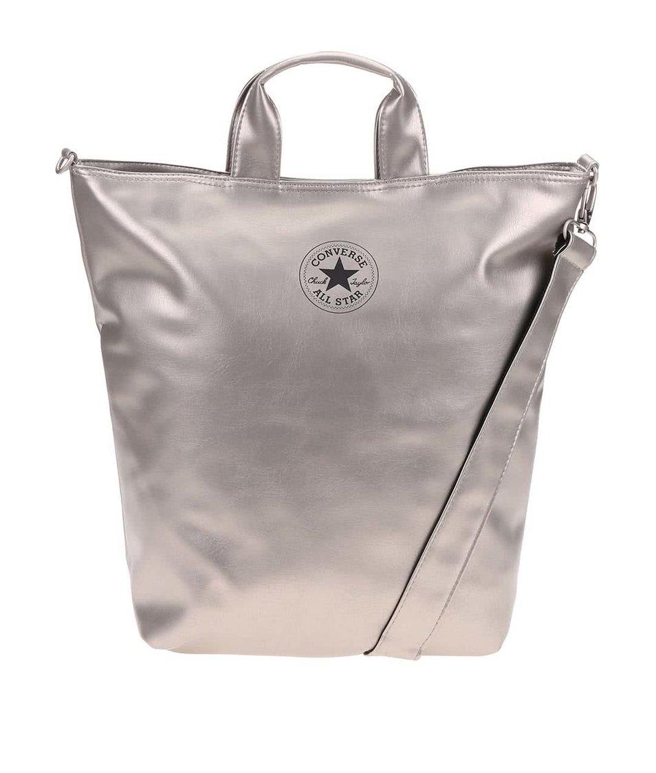 Béžová koženková velká taška se zlatými odlesky Converse Tote