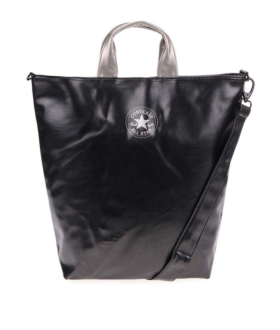 Černá koženková velká taška se stříbrnými odlesky Converse Tote