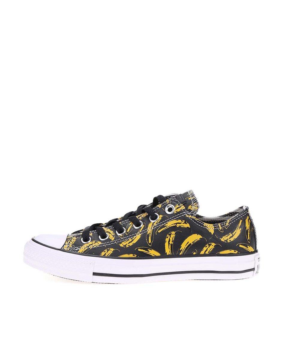 Černé dámské kožené tenisky s banány Converse Chuck Taylor All Star Warhol