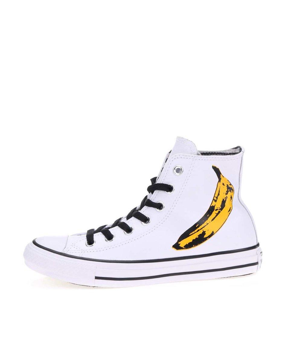 Bílé dámské kožené kotníkové tenisky s banánem Converse Chuck Taylor All Star Warhol
