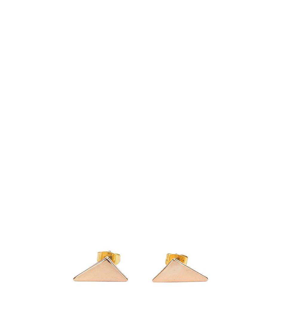 Trojúhelníkové náušnice ve zlaté barvě Pieces Elona