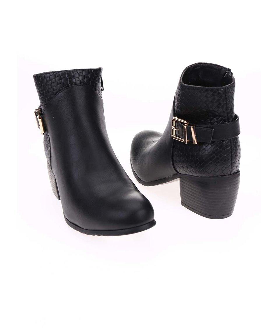 Černé kotníkové boty na podpatku Pieces Uma