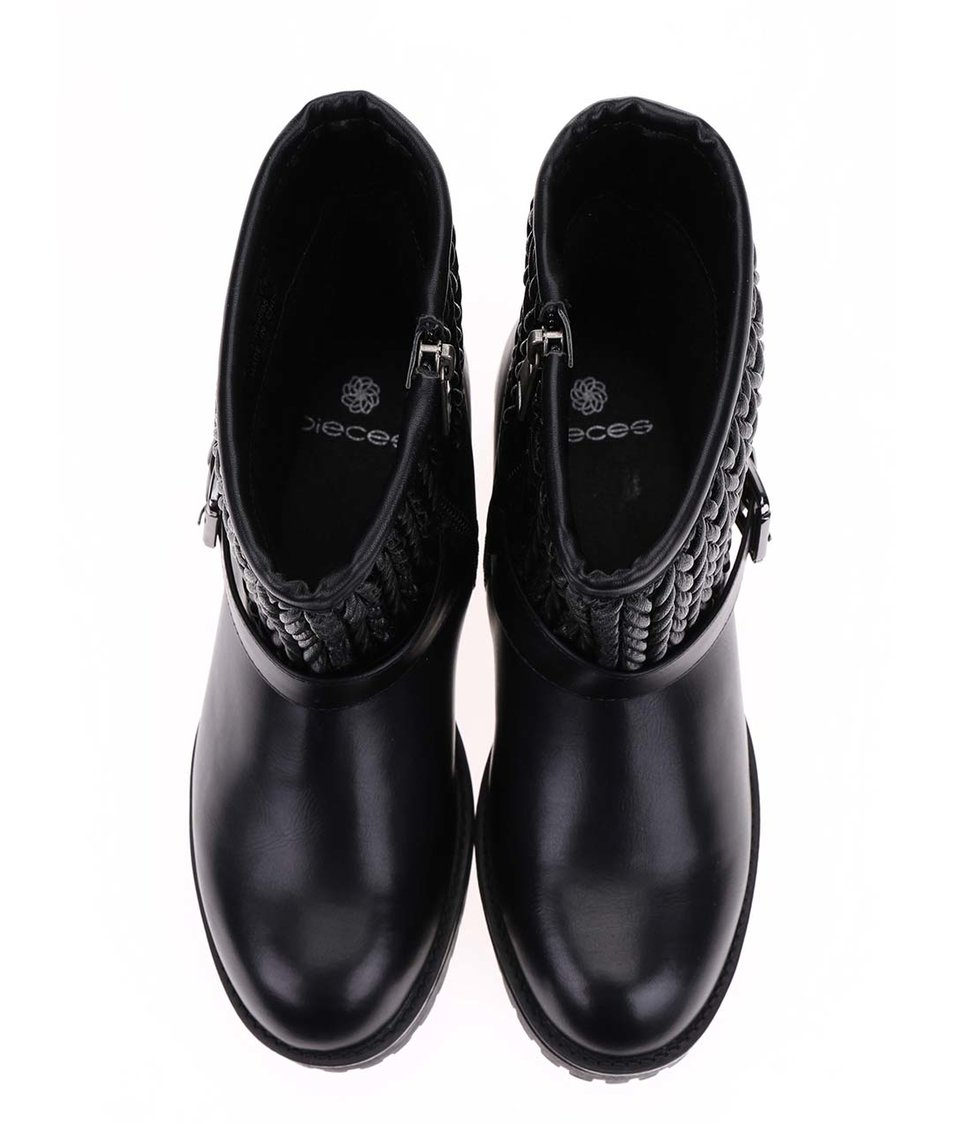 Černé vyšší boty Pieces Vania