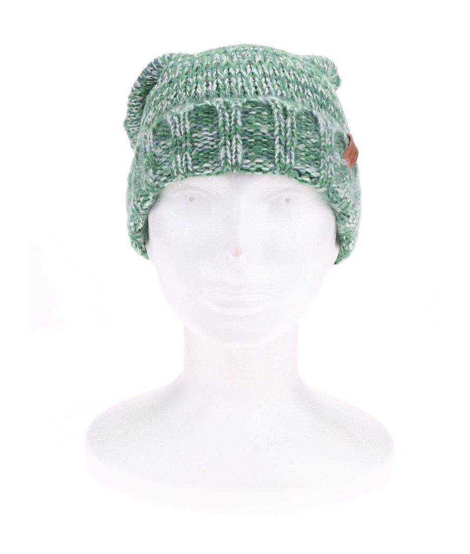 Béžovo-zelená dámská žíhaná čepice s bambulemi Ragwear Sky