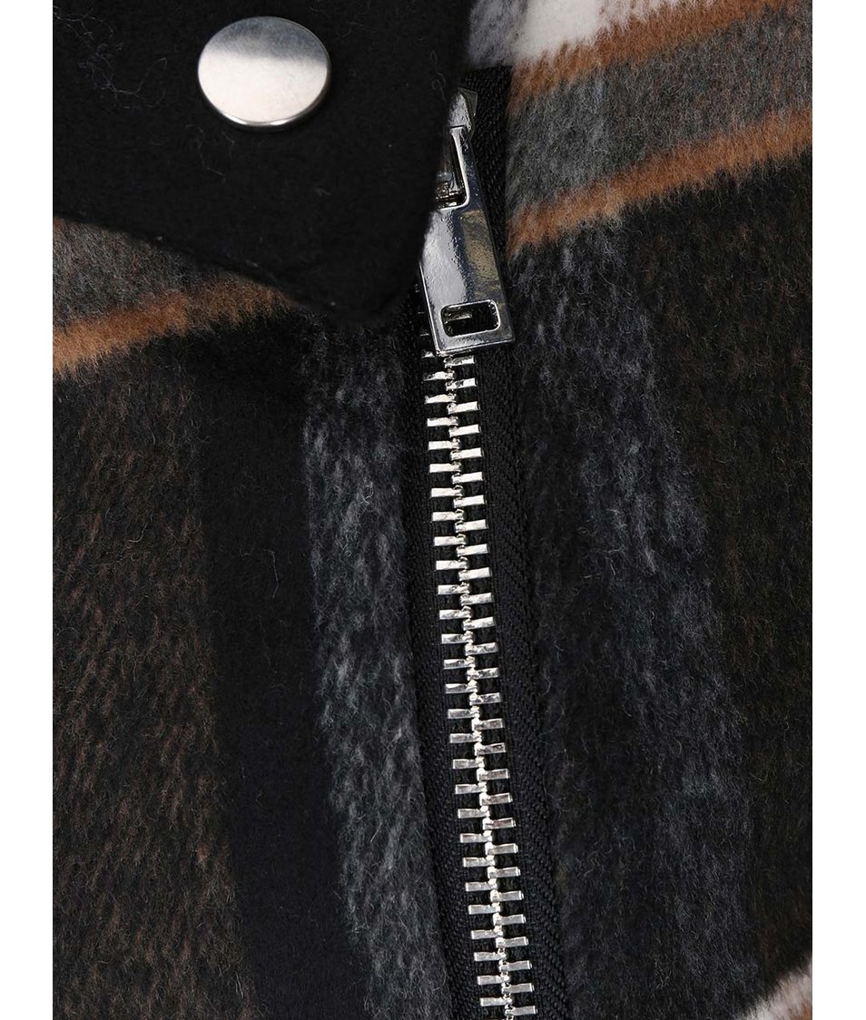 Béžovo-šedý kostkovaný kabát VILA Vintour