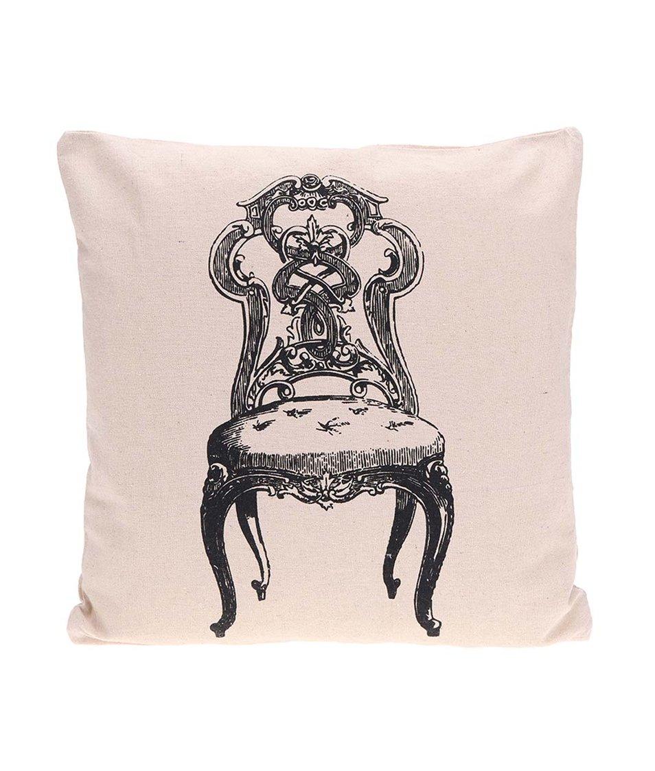 Béžový povlak na polštář s potiskem židle Dakls