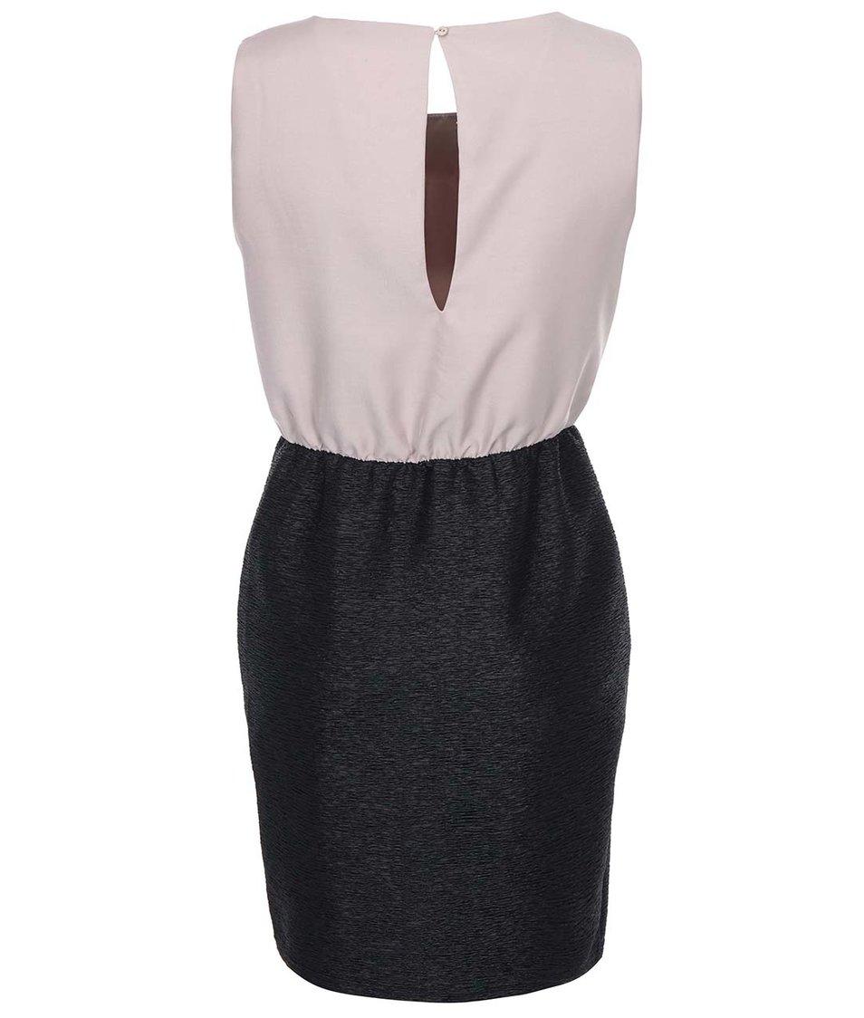 Béžovo-černé pouzdrové šaty VILA Lassie