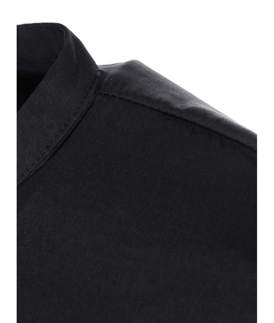 Černý lesklý top se zipem VILA Sofital