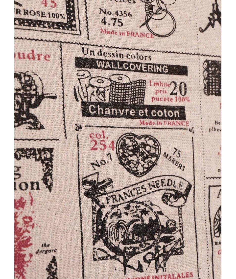 Béžový povlak na polšář s potiskem novin Dakls