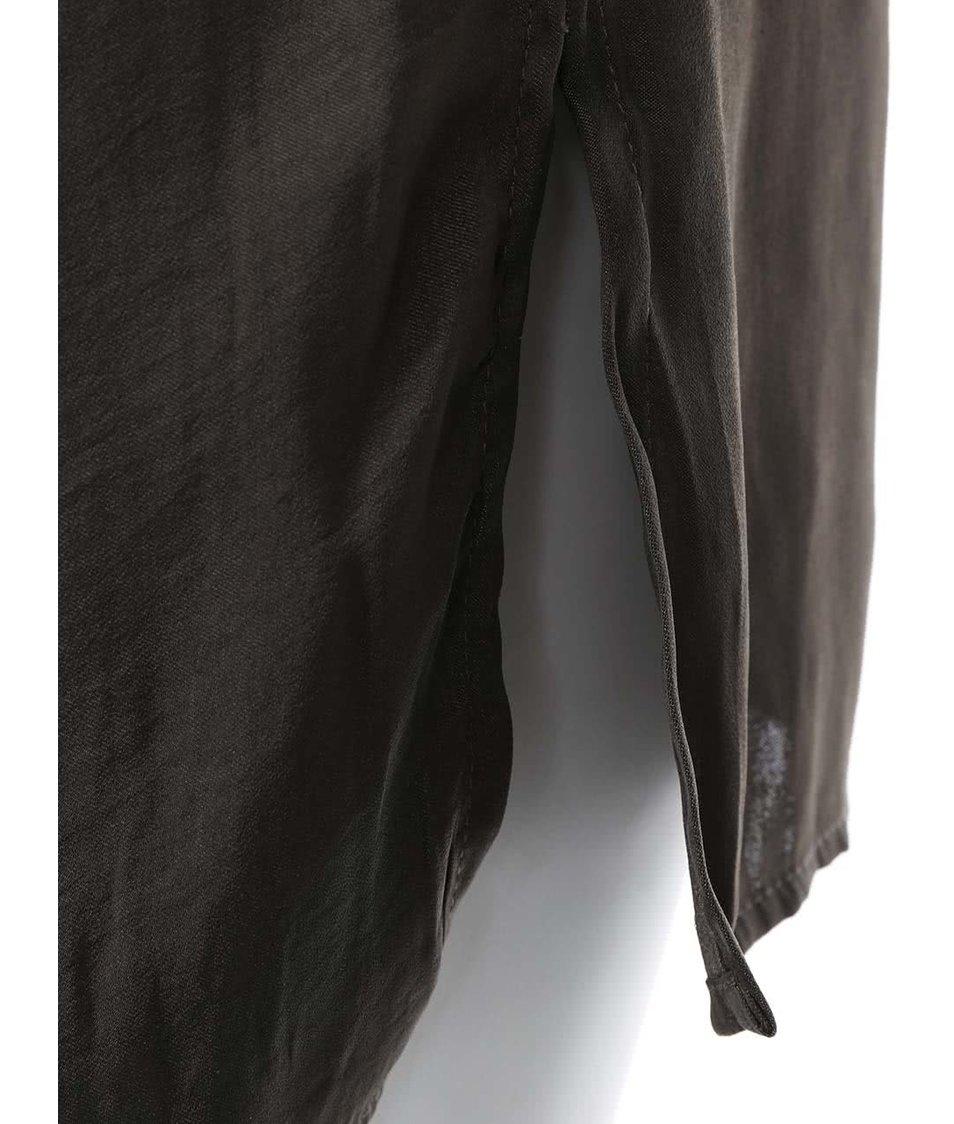Tmavě šedá lesklá delší košile VILA Sofital Long